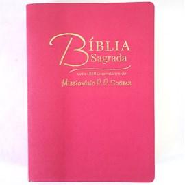 Bíblia Sagrada Comentada Missionário R R Soares   ARC  Letra Grande   Capa Luxo Rosa