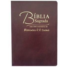 Bíblia Sagrada Comentada Missionário R R Soares | ARC |Letra Grande | Capa Luxo Vinho
