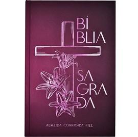 Bíblia Sagrada Cruz Floral | ACF | Letra Normal | Capa Dura