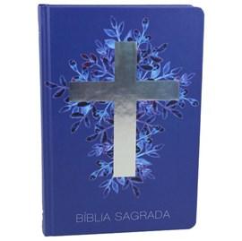 Bíblia Sagrada Cruz Prata | Letra Normal | NAA | Capa Dura Azul