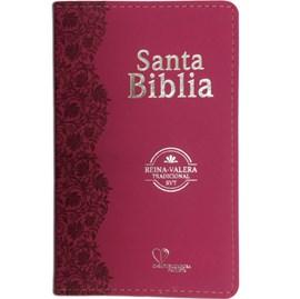 Bíblia Sagrada em Espanhol RVT | Fucsia Luxo C/ Flores