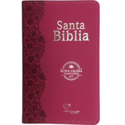 Bíblia Sagrada em Espanhol RVT   Fucsia Luxo C/ Flores