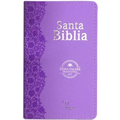 Bíblia Sagrada em Espanhol RVT | Lílas Luxo C/ Flores