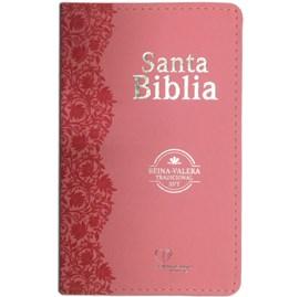 Bíblia Sagrada em Espanhol RVT | Rosa Luxo C/ Flores
