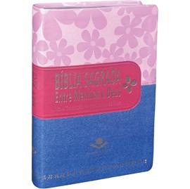 Bíblia Sagrada Entre Meninas e Deus | Letra Normal | NTLH | Capa Primavera Jeans Pink Luxo