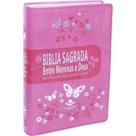 Bíblia Sagrada Entre Meninas e Deus | Letra Normal | NTLH | Capa Rosa