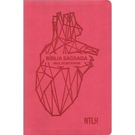 Bíblia Sagrada Fácil de Entender | NTLH Letra Normal | Capa Coração Rosa