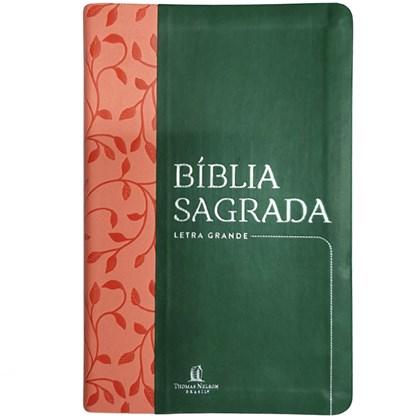 Bíblia Sagrada Folhagem | NVI | Letra Grande | Capa Verde e Rosa