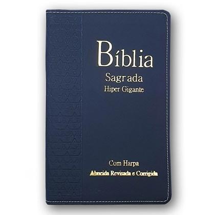 Bíblia Sagrada Harpa Avivada e Corinhos  | ARC | Letra Hipergigante | Índice |  Luxo Azul