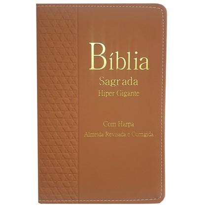Bíblia Sagrada Harpa Avivada e Corinhos | ARC | Letra Hipergigante | Índice | Luxo Marrom