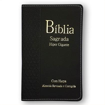 Bíblia Sagrada Harpa Avivada e Corinhos  | ARC | Letra Hipergigante | Índice | Luxo Preta
