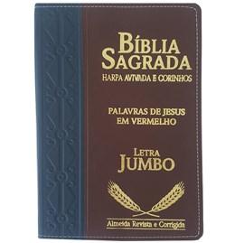 Bíblia Sagrada Harpa Avivada e Corinhos | ARC | Letra Jumbo | Índice | Bicolor Azul e Vinho