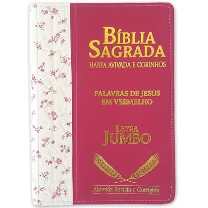Bíblia Sagrada Harpa Avivada e Corinhos | ARC | Letra Jumbo | Índice | Bicolor Flores Rosa e Pink