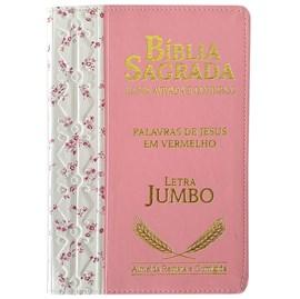 Bíblia Sagrada Harpa Avivada e Corinhos | ARC | Letra Jumbo | Índice | Bicolor Flores Rosa e Rosa