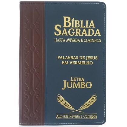 Bíblia Sagrada Harpa Avivada e Corinhos | ARC | Letra Jumbo | Índice | Bicolor Marron e Azul