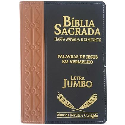 Bíblia Sagrada Harpa Avivada e Corinhos | ARC | Letra Jumbo | Índice | Bicolor Marron e Preta