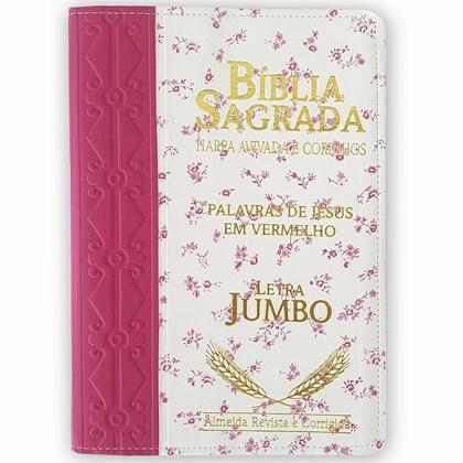 Bíblia Sagrada Harpa Avivada e Corinhos   ARC   Letra Jumbo   Índice   Bicolor Pink e Flores Rosa