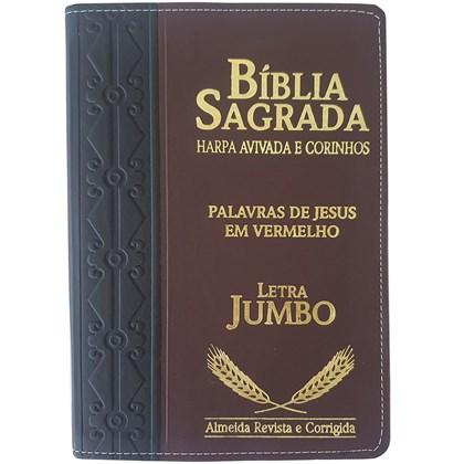 Bíblia Sagrada Harpa Avivada e Corinhos | ARC | Letra Jumbo | Índice | Bicolor Preta e Marrom