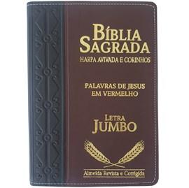 Bíblia Sagrada Harpa Avivada e Corinhos | ARC | Letra Jumbo | Índice | Bicolor Preta e Vinho