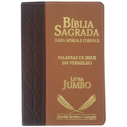 Bíblia Sagrada Harpa Avivada e Corinhos | ARC | Letra Jumbo | Índice | Bicolor Vinho e Marrom