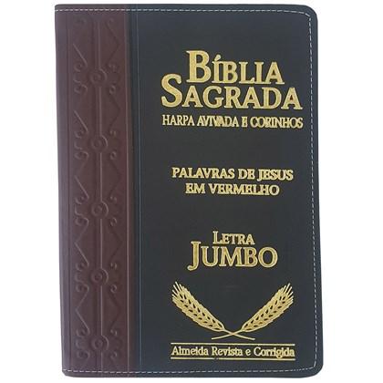Bíblia Sagrada Harpa Avivada e Corinhos   ARC   Letra Jumbo   Índice   Bicolor Vinho e Preta