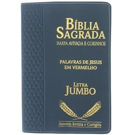 Bíblia Sagrada Harpa Avivada e Corinhos | ARC | Letra Jumbo | Índice | Luxo Azul