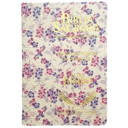 Bíblia Sagrada Harpa Avivada e Corinhos   ARC   Letra Jumbo   Índice   Luxo Floral