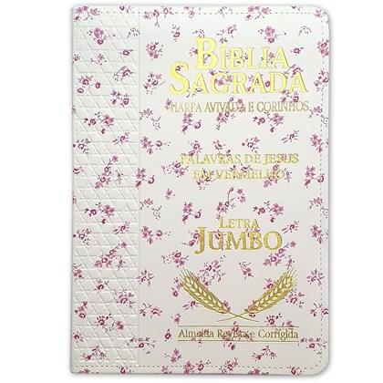 Bíblia Sagrada Harpa Avivada e Corinhos   ARC   Letra Jumbo   Índice   Luxo Flores Rosa