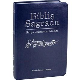 Bíblia Sagrada Harpa Cristã com Música | ARC | Capa Azul Luxo