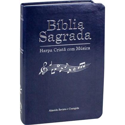 Bíblia Sagrada Harpa Cristã com Música   ARC   Capa Azul Luxo