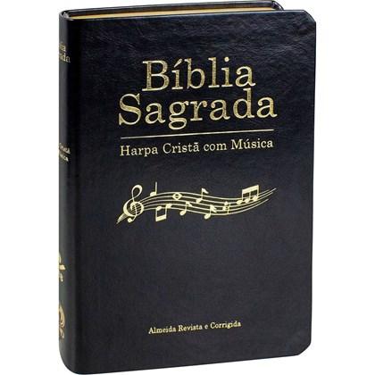 Bíblia Sagrada Harpa Cristã com Música | ARC | Capa Azul Preta