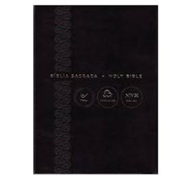 Bíblia Sagrada - Holy Bible | Português e Inglês | NVI Letra Normal | Preta