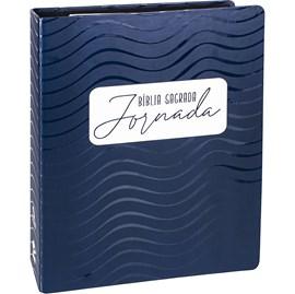 Bíblia Sagrada Jornada Espiral   NAA   Letra Normal   Capa Tipo Fichário Azul Escuro