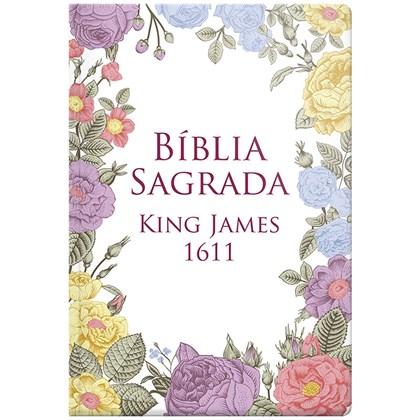 Bíblia Sagrada King James 1611 Flores Coloridas   BKJ   Letra Normal   Capa Dura