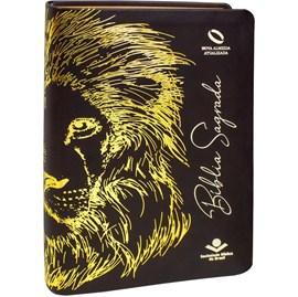 Bíblia Sagrada Leão Dourado | NAA | Letra Grande | Capa Marrom Luxo