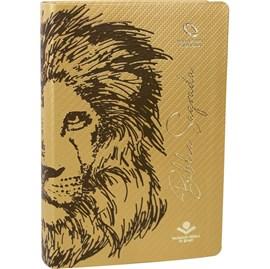 Bíblia Sagrada Leão Marrom | NAA | Letra Grande | Capa Dourada Luxo