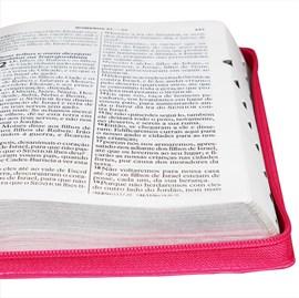 Bíblia Sagrada | Letra Gigante | ARA | Capa Couro Pink / Zíper | c/ Índice