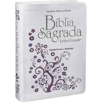 Bíblia Sagrada | Letra Grande | ARA | Capa Couro Branca