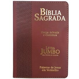 Bíblia Sagrada Letra Jumbo | ARC | Harpa Avivada e Corinhos | Capa PU Luxo Estrela Bordô