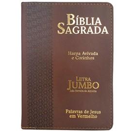 Bíblia Sagrada Letra Jumbo   ARC   Harpa Avivada e Corinhos   Capa PU Luxo Estrela Marrom