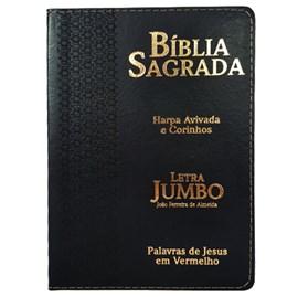 Bíblia Sagrada Letra Jumbo | ARC | Harpa Avivada e Corinhos | Capa PU Luxo Estrela Preta