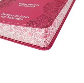 Bíblia Sagrada Letra Jumbo | ARC | Harpa Avivada e Corinhos | Capa PU Luxo Flores Pink