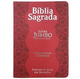 Bíblia Sagrada Letra Jumbo   ARC   Harpa Avivada e Corinhos   Capa PU Luxo Flores Vermelho