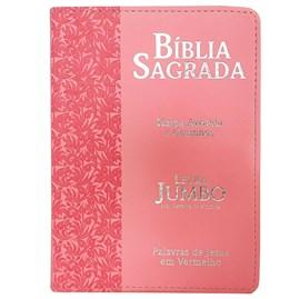 Bíblia Sagrada Letra Jumbo | ARC | Harpa Avivada e Corinhos | Capa PU Luxo Ramo Rosa
