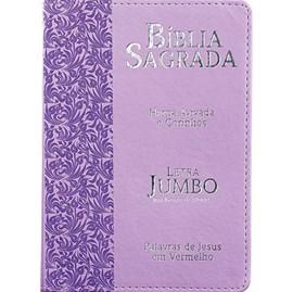 Bíblia Sagrada Letra Jumbo | ARC | Harpa Avivada e Corinhos | Capa PU Luxo Ramos Lilás
