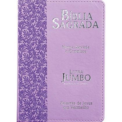 Bíblia Sagrada Letra Jumbo   ARC   Harpa Avivada e Corinhos   Capa PU Luxo Ramos Lilás