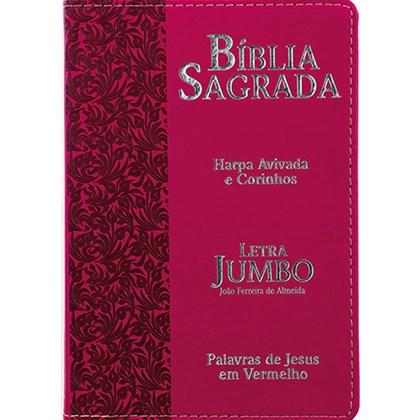 Bíblia Sagrada Letra Jumbo | ARC | Harpa Avivada e Corinhos | Capa PU Luxo Ramos Pink