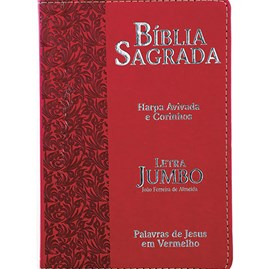Bíblia Sagrada Letra Jumbo | ARC | Harpa Avivada e Corinhos | Capa PU Luxo Ramos Vermelha