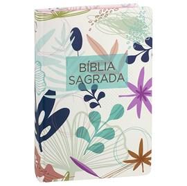 Bíblia Sagrada  | Letra Normal | ARA | Capa Dura Branca Flores