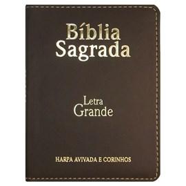 Bíblia Sagrada Média com Zíper | Letra Normal ARC | Harpa Avivada e Corinhos | PU Marrom